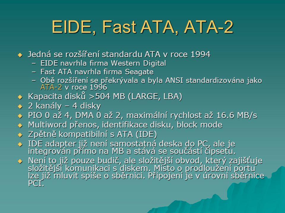 EIDE, Fast ATA, ATA-2 Jedná se rozšíření standardu ATA v roce 1994