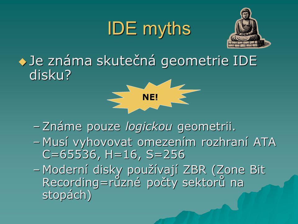 IDE myths Je známa skutečná geometrie IDE disku