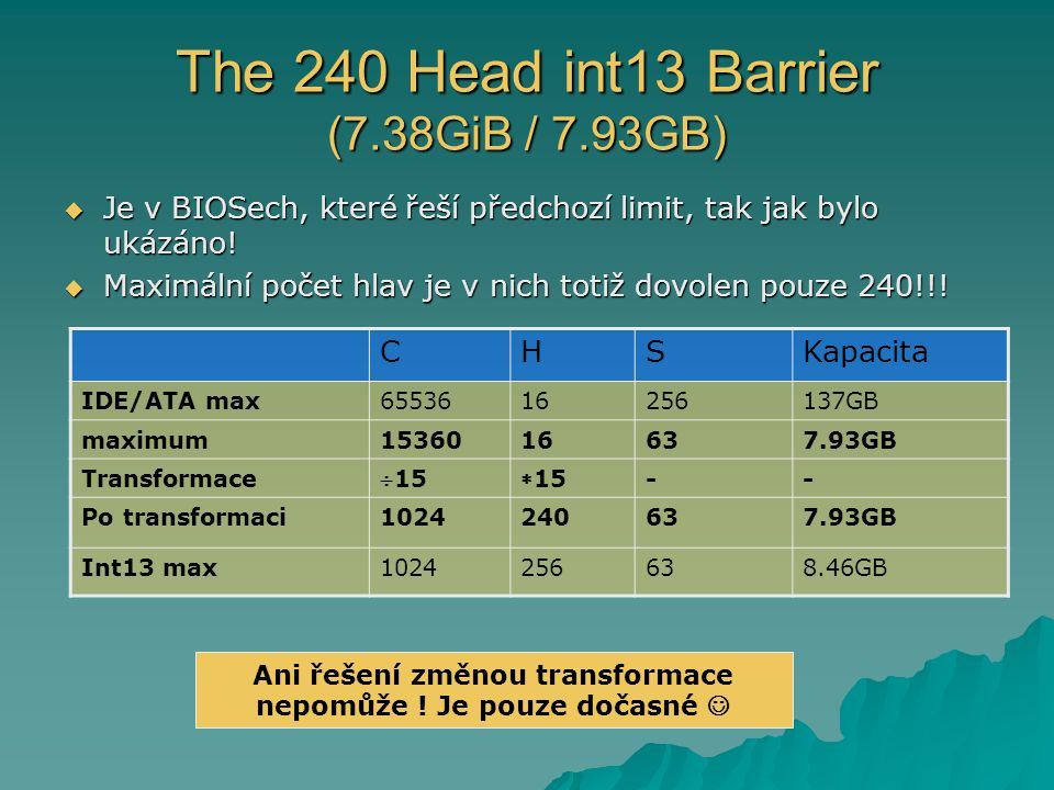 The 240 Head int13 Barrier (7.38GiB / 7.93GB)