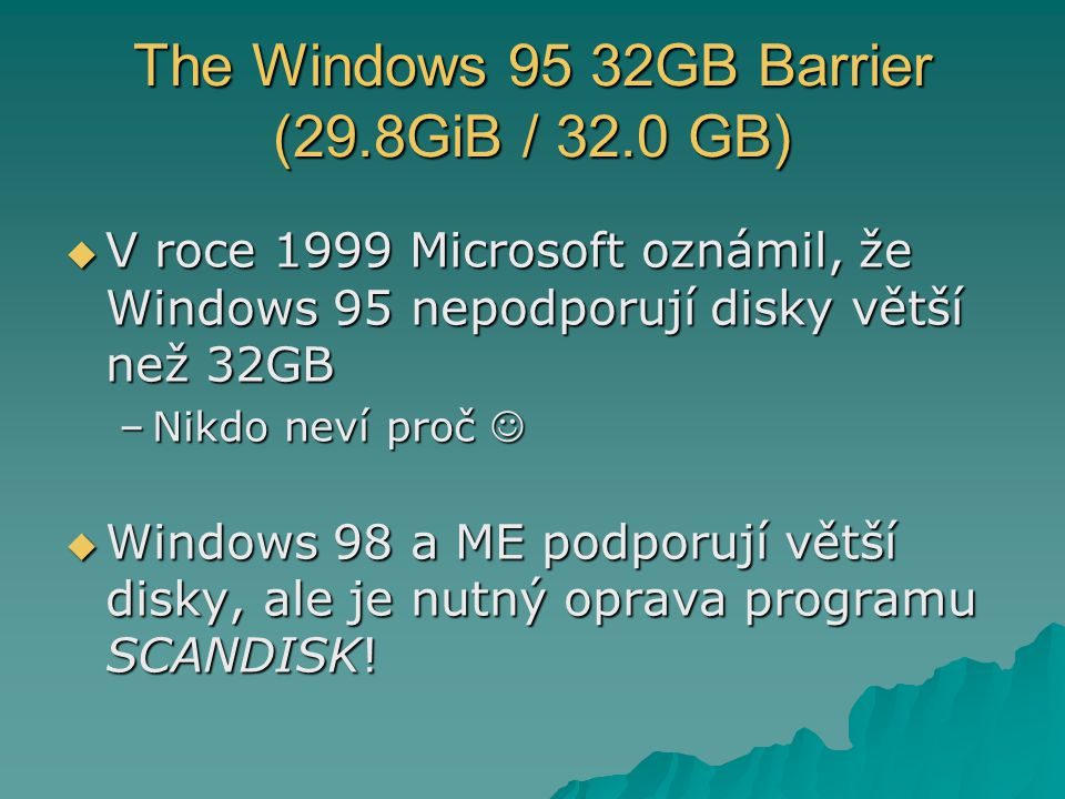 The Windows 95 32GB Barrier (29.8GiB / 32.0 GB)