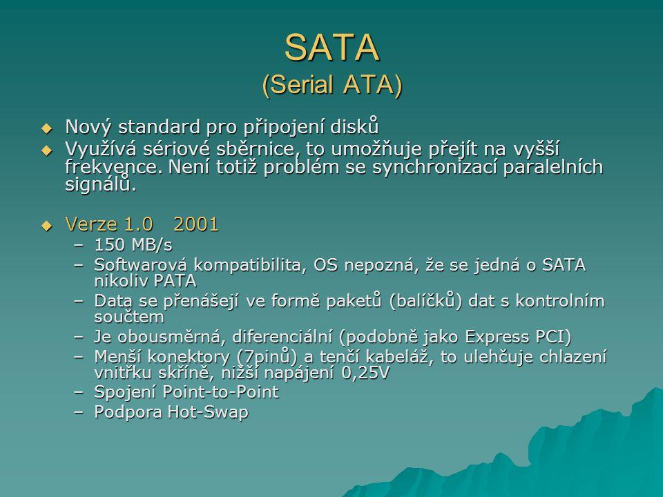 SATA (Serial ATA) Nový standard pro připojení disků