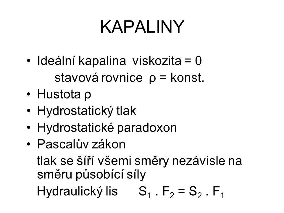 KAPALINY Ideální kapalina viskozita = 0 stavová rovnice ρ = konst.