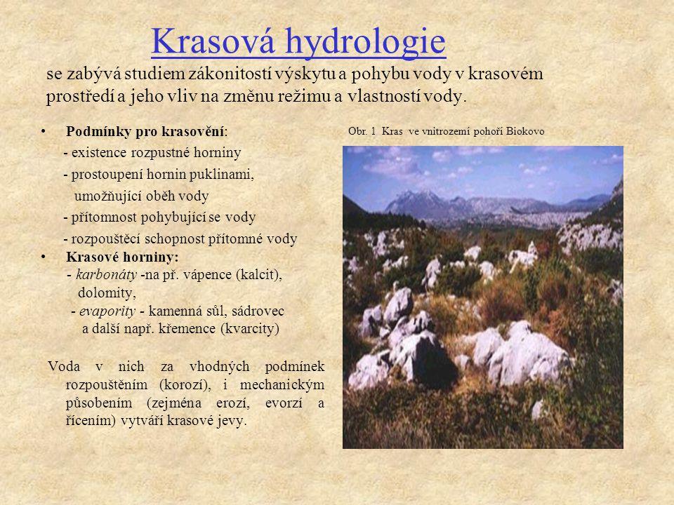 Krasová hydrologie se zabývá studiem zákonitostí výskytu a pohybu vody v krasovém prostředí a jeho vliv na změnu režimu a vlastností vody.