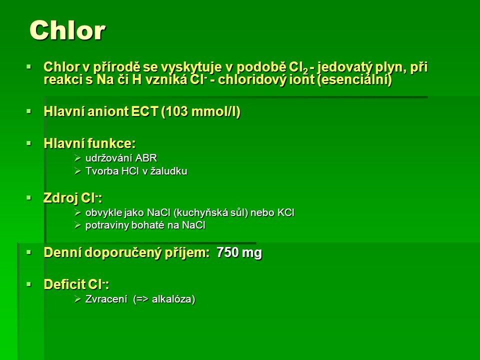 Chlor Chlor v přírodě se vyskytuje v podobě Cl2 - jedovatý plyn, při reakci s Na či H vzniká Cl- - chloridový iont (esenciální)