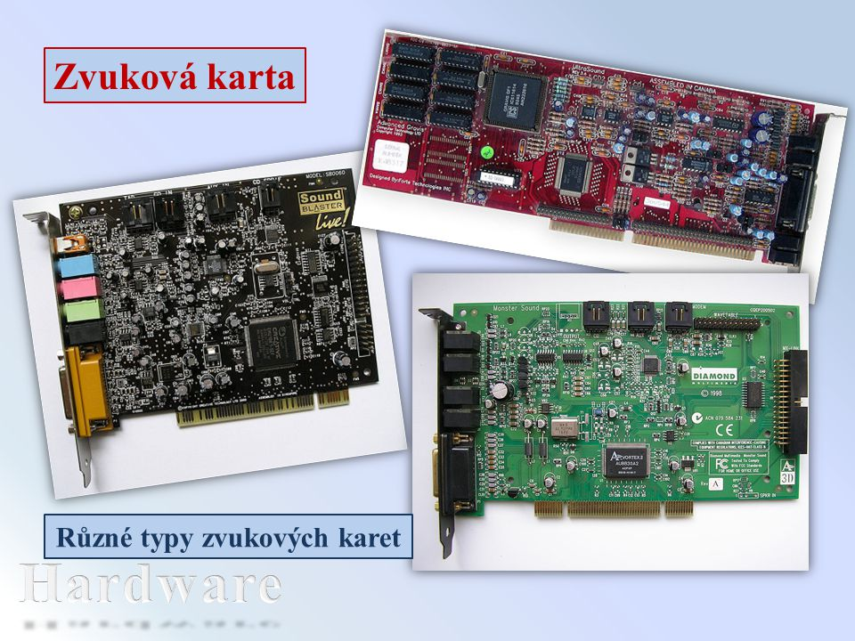 Různé typy zvukových karet