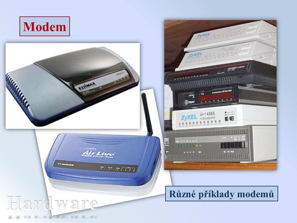 Modem Různé příklady modemů Hardware