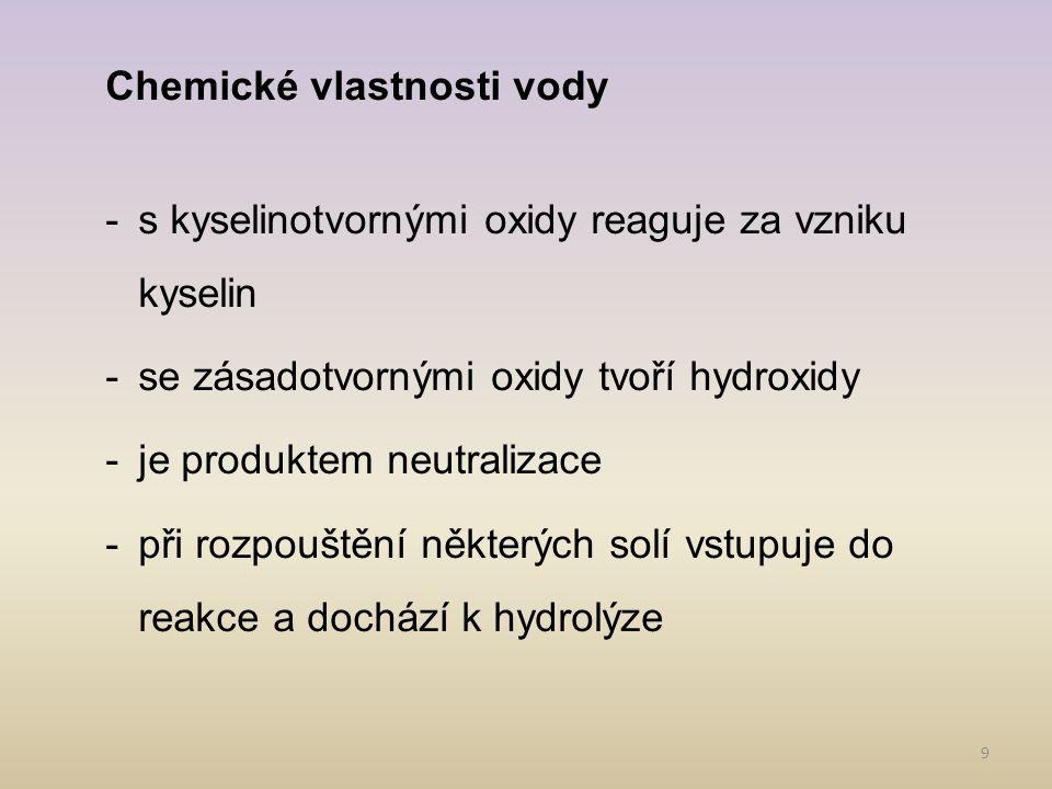Chemické vlastnosti vody