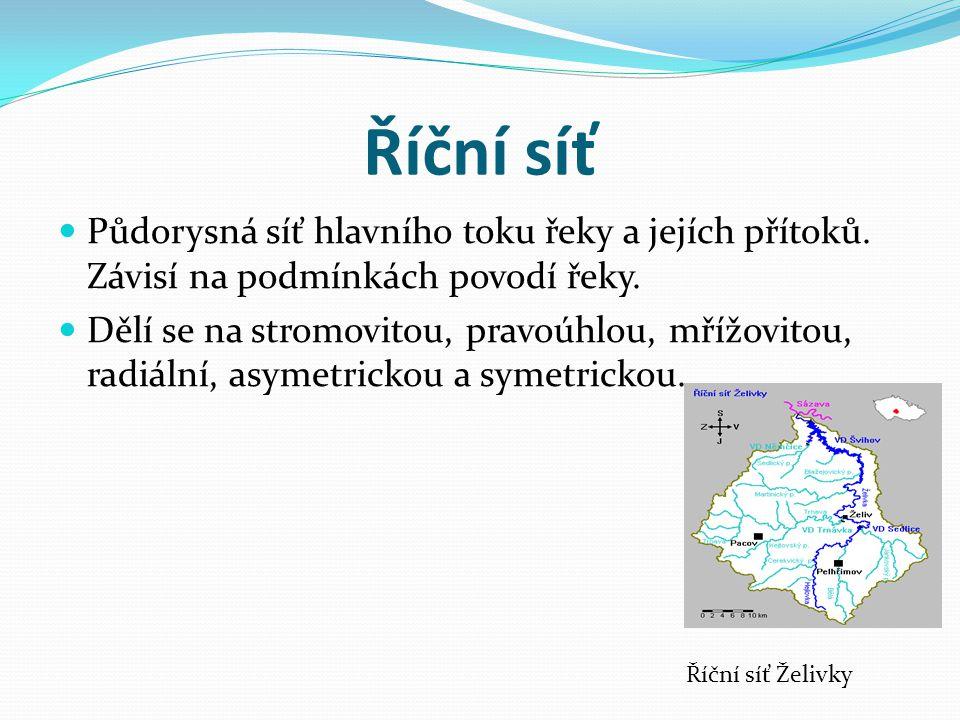 Říční síť Půdorysná síť hlavního toku řeky a jejích přítoků. Závisí na podmínkách povodí řeky.