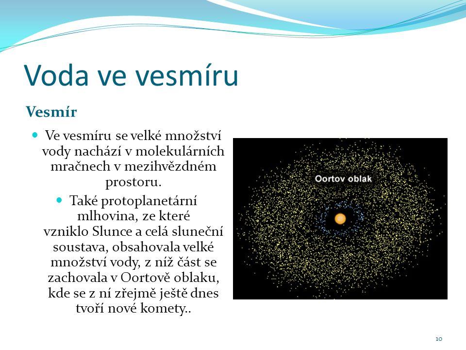 Voda ve vesmíru Vesmír. Ve vesmíru se velké množství vody nachází v molekulárních mračnech v mezihvězdném prostoru.