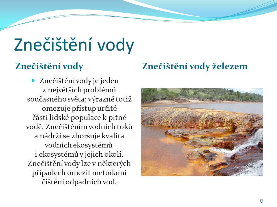 Znečištění vody Znečištění vody Znečištění vody železem