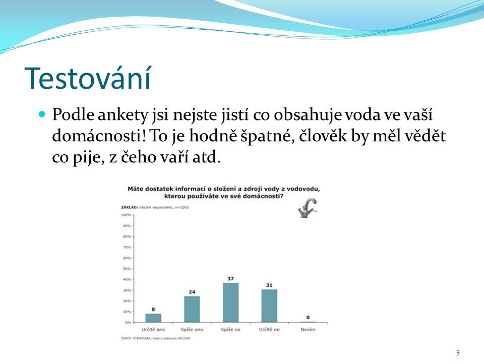 Testování Podle ankety jsi nejste jistí co obsahuje voda ve vaší domácnosti.