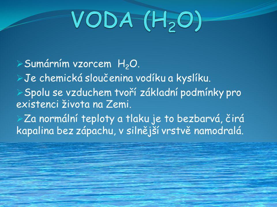VODA (H2O) Sumárním vzorcem H2O.
