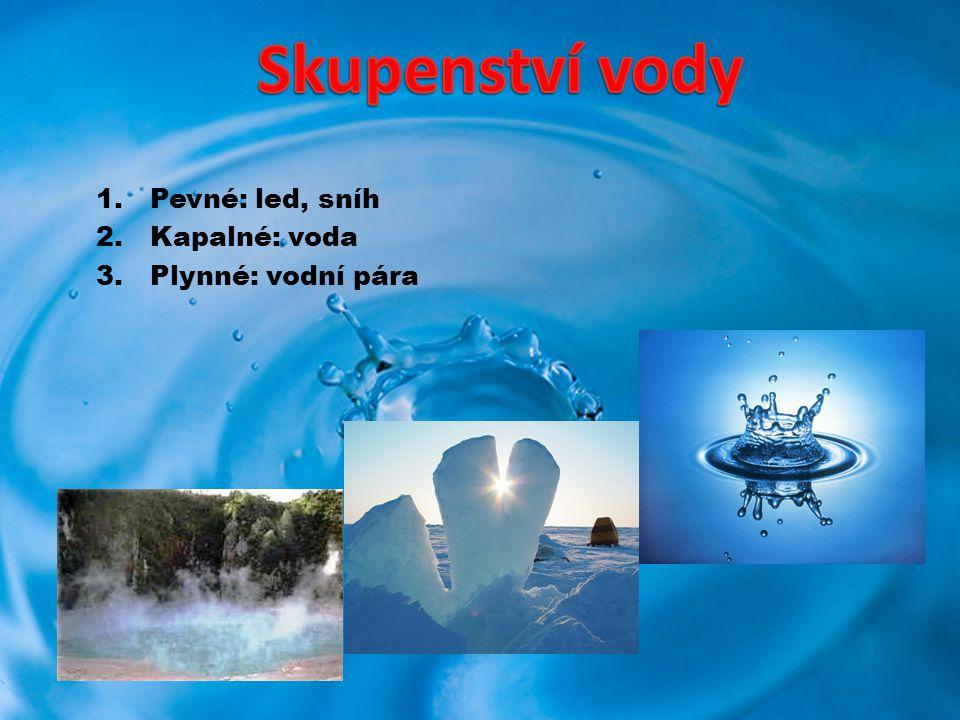 Pevné: led, sníh Kapalné: voda Plynné: vodní pára