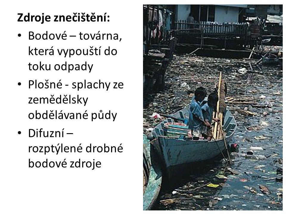 Zdroje znečištění: Bodové – továrna, která vypouští do toku odpady. Plošné - splachy ze zemědělsky obdělávané půdy.