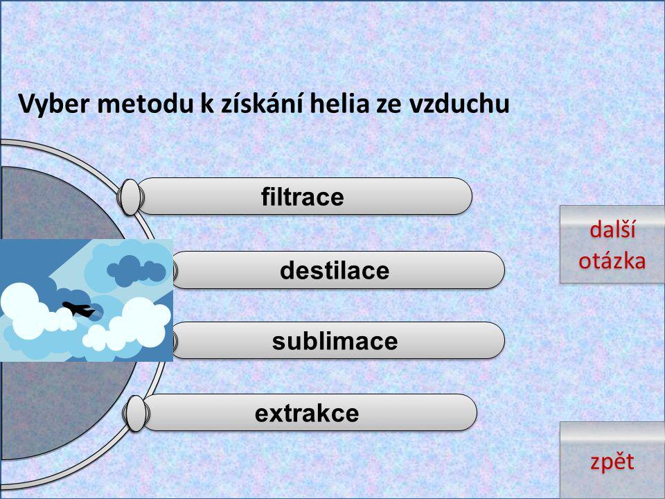 Vyber metodu k získání helia ze vzduchu