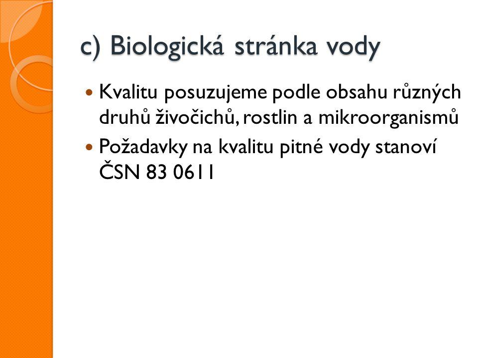 c) Biologická stránka vody