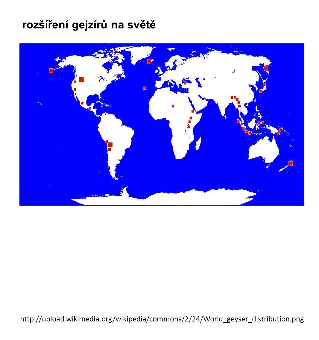 rozšíření gejzírů na světě