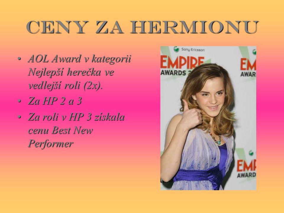 Ceny za Hermionu AOL Award v kategorii Nejlepší herečka ve vedlejší roli (2x).