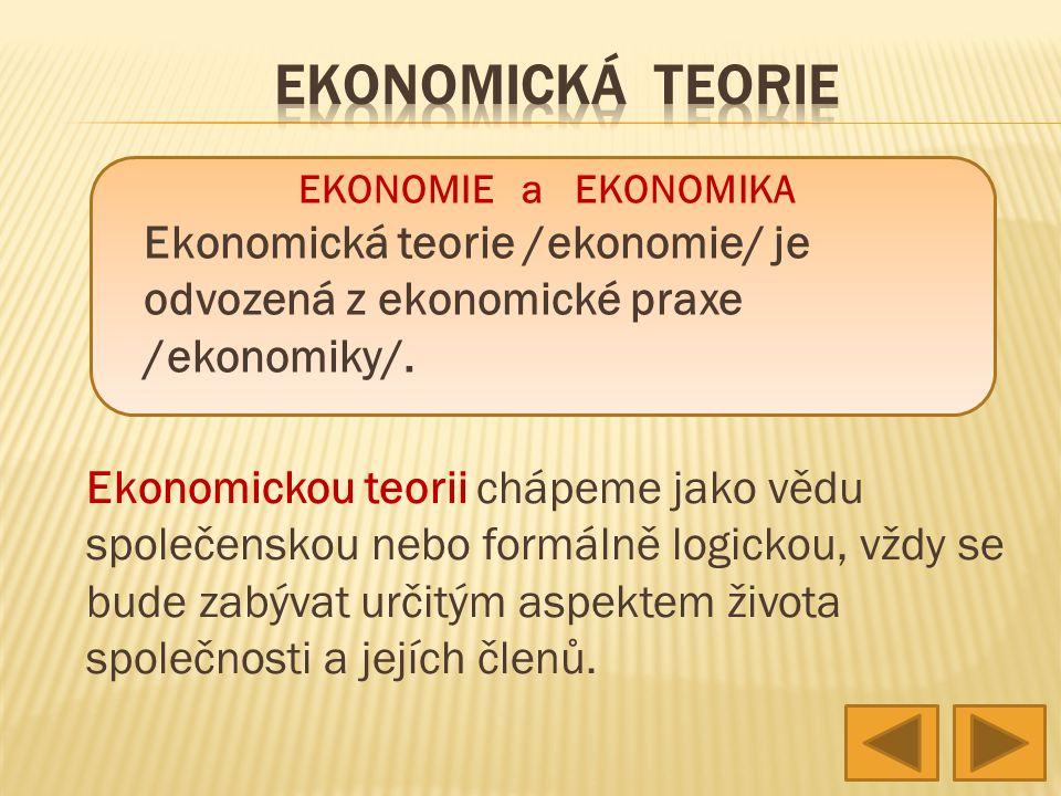 EKONOMICKÁ TEORIE EKONOMIE a EKONOMIKA. Ekonomická teorie /ekonomie/ je odvozená z ekonomické praxe /ekonomiky/.