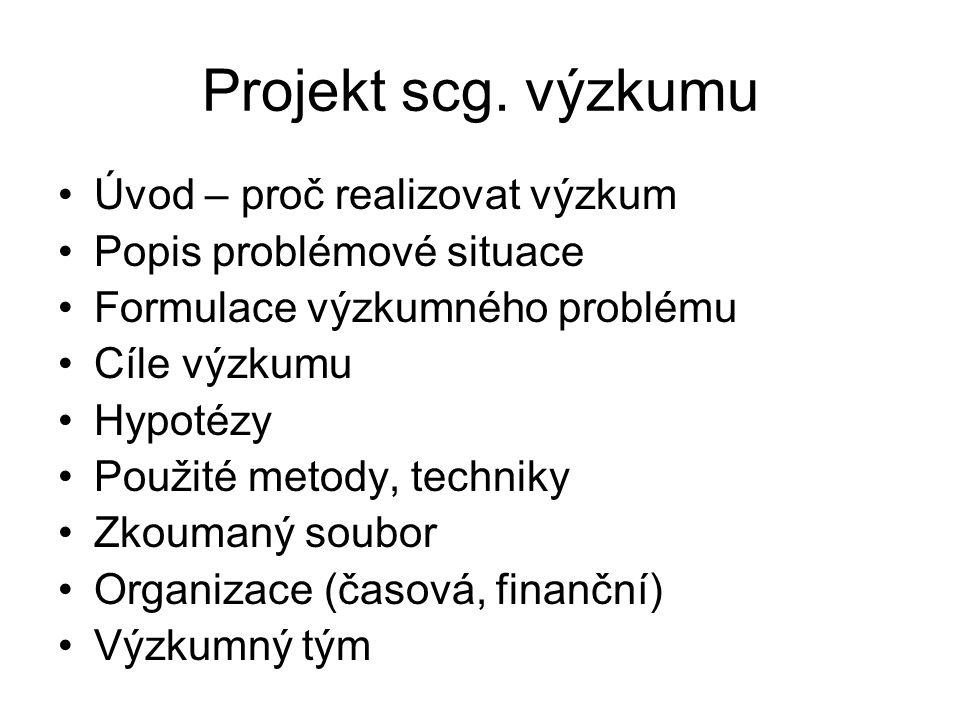Projekt scg. výzkumu Úvod – proč realizovat výzkum