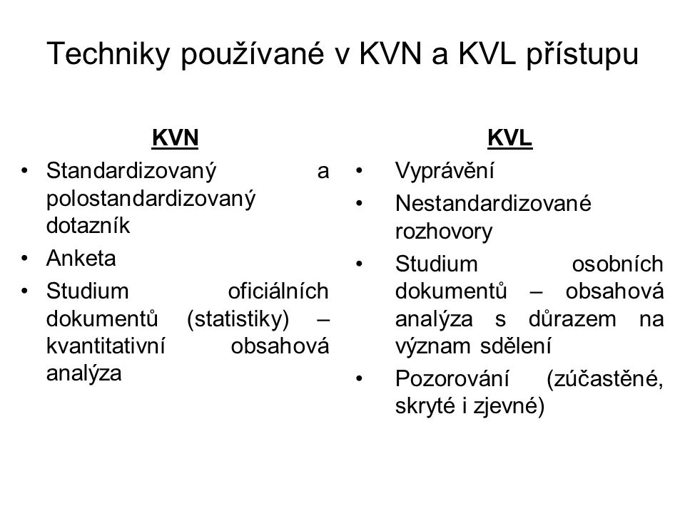 Techniky používané v KVN a KVL přístupu