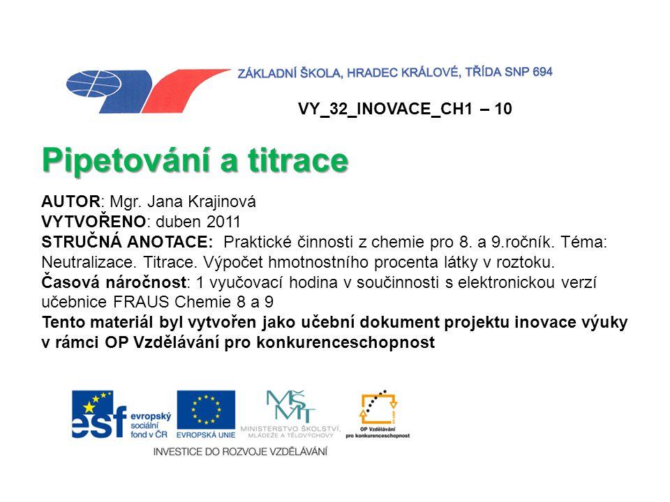 Pipetování a titrace VY_32_INOVACE_CH1 – 10 AUTOR: Mgr. Jana Krajinová