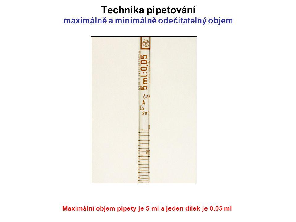 Technika pipetování maximálně a minimálně odečitatelný objem