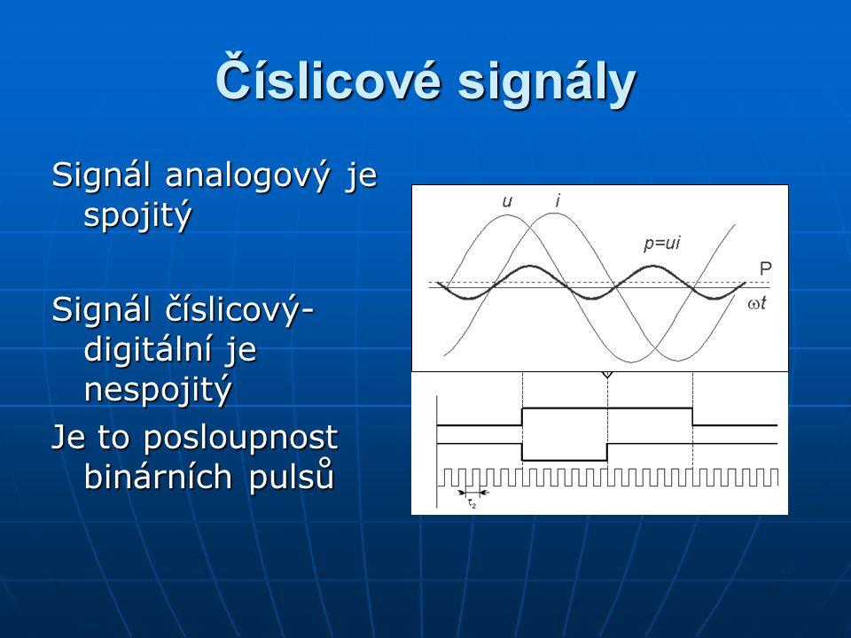 Číslicové signály Signál analogový je spojitý