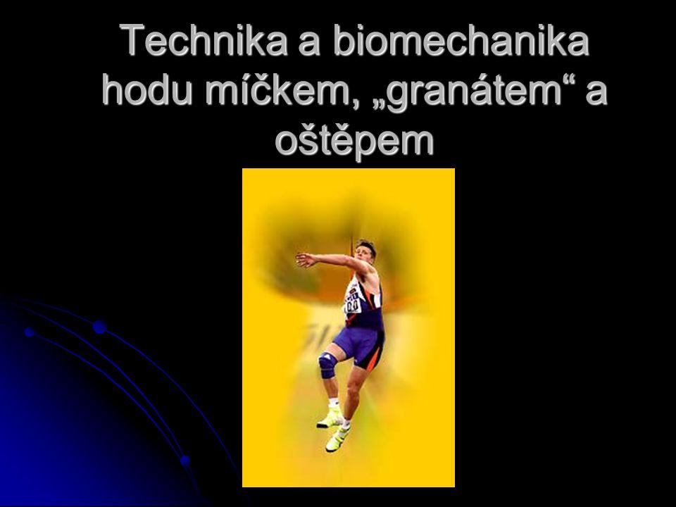 """Technika a biomechanika hodu míčkem, """"granátem a oštěpem"""