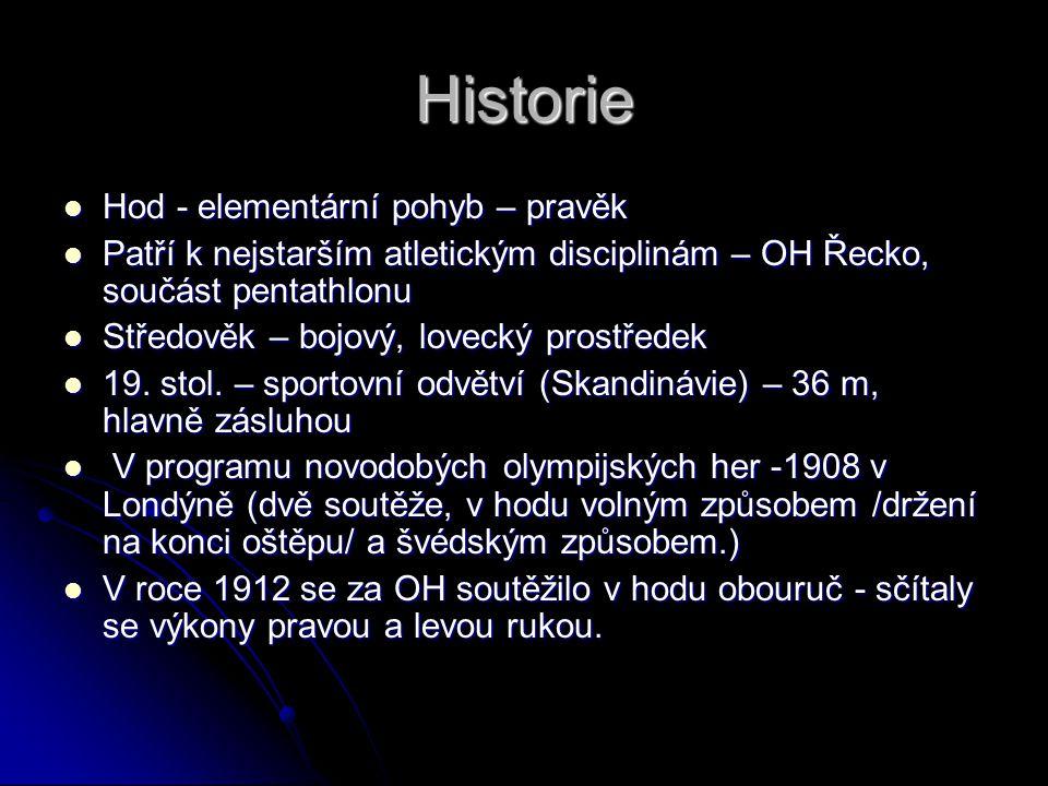 Historie Hod - elementární pohyb – pravěk