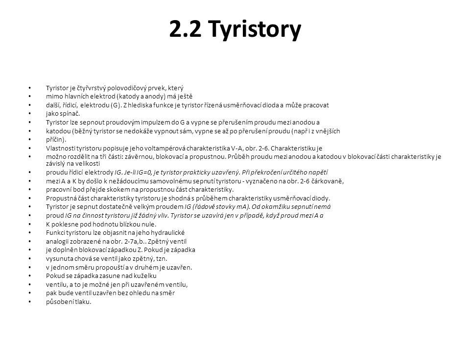 2.2 Tyristory Tyristor je čtyřvrstvý polovodičový prvek, který
