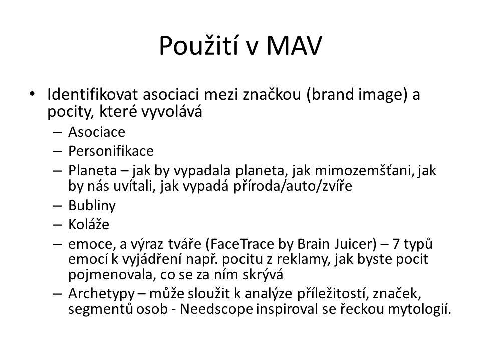 Použití v MAV Identifikovat asociaci mezi značkou (brand image) a pocity, které vyvolává. Asociace.