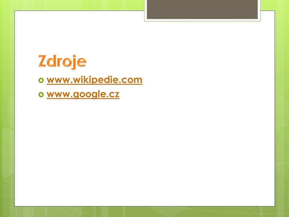 Zdroje www.wikipedie.com www.google.cz