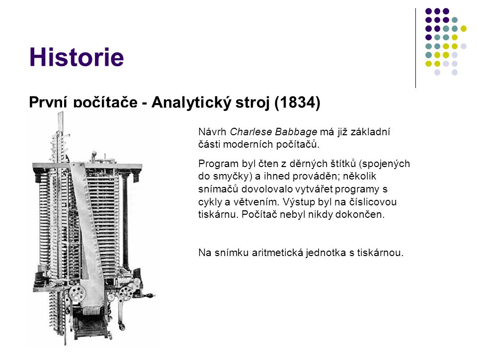 Historie První počítače - Analytický stroj (1834)