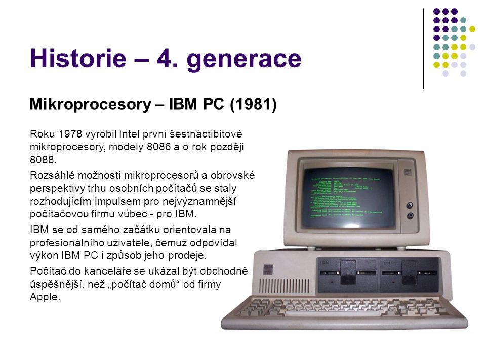 Historie – 4. generace Mikroprocesory – IBM PC (1981)