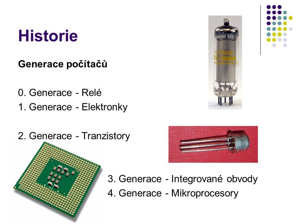 Historie Generace počítačů 0. Generace - Relé 1. Generace - Elektronky