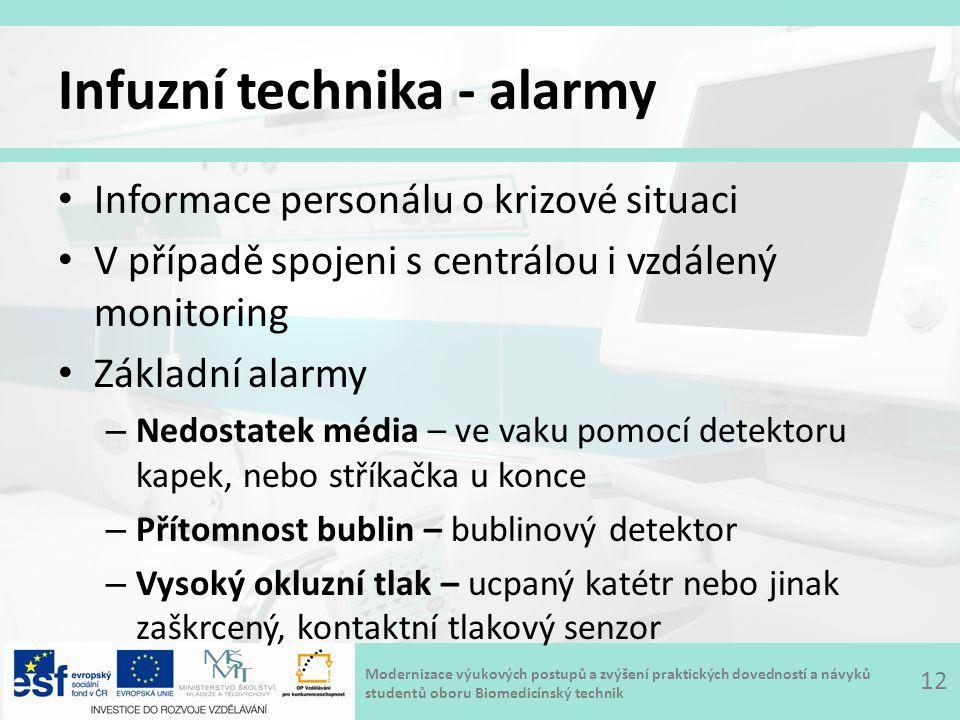 Infuzní technika - alarmy