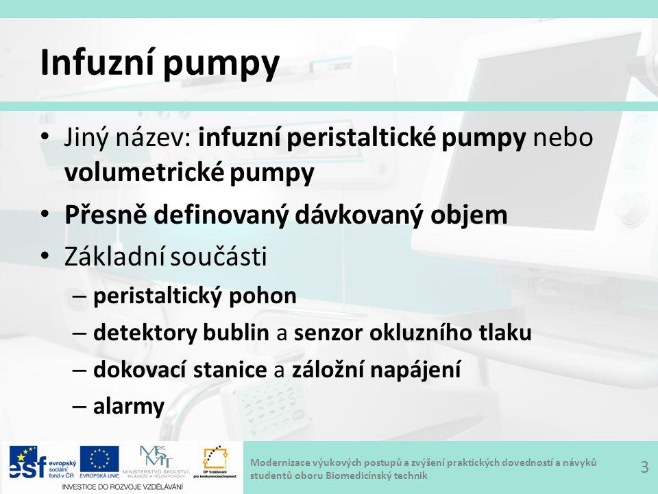 Infuzní pumpy Jiný název: infuzní peristaltické pumpy nebo volumetrické pumpy. Přesně definovaný dávkovaný objem.