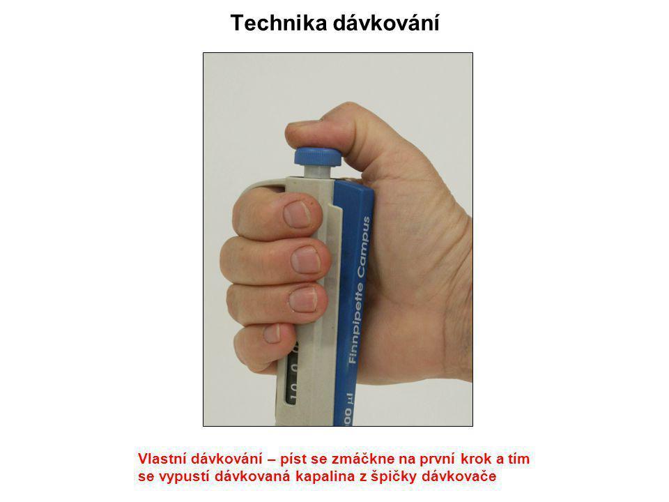 Technika dávkování Vlastní dávkování – píst se zmáčkne na první krok a tím.