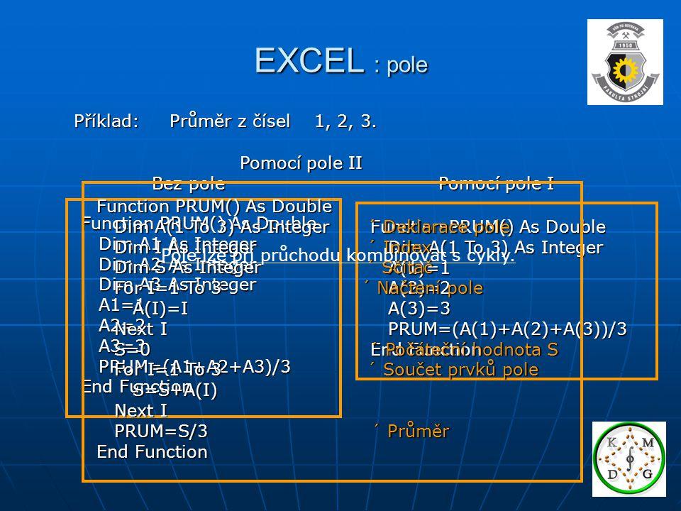 EXCEL : pole Příklad: Průměr z čísel 1, 2, 3.