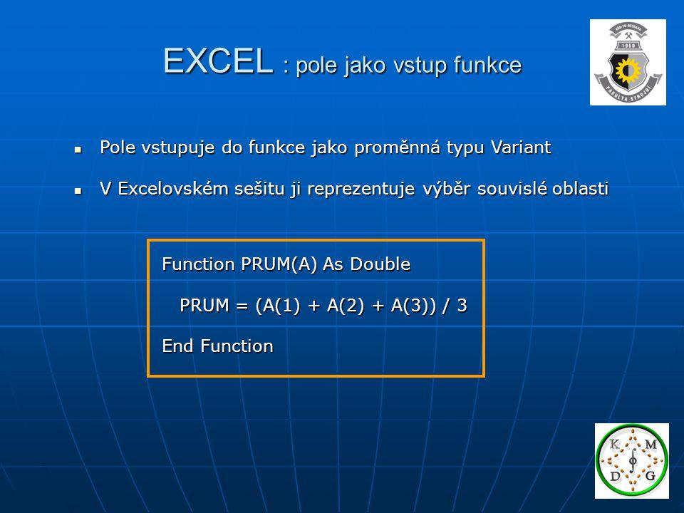 EXCEL : pole jako vstup funkce