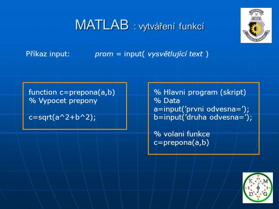 MATLAB : vytváření funkcí