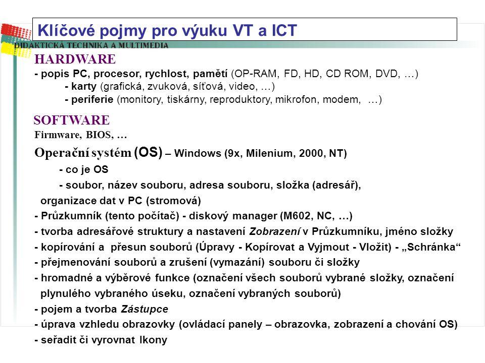 Klíčové pojmy pro výuku VT a ICT