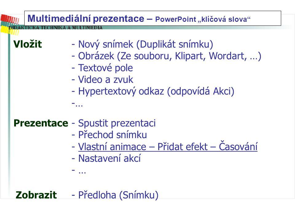 """Multimediální prezentace – PowerPoint """"klíčová slova"""