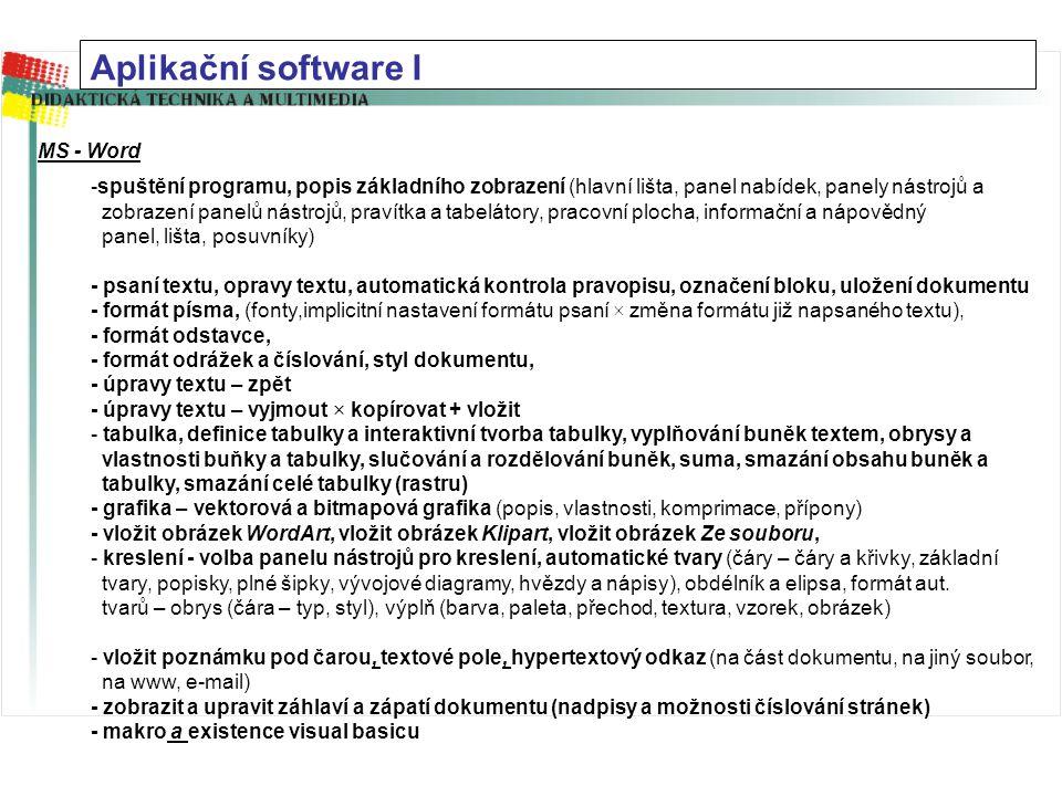 Aplikační software I MS - Word