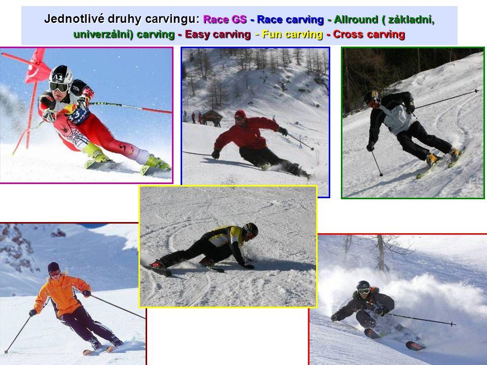Jednotlivé druhy carvingu: Race GS - Race carving - Allround ( základní, univerzální) carving - Easy carving - Fun carving - Cross carving