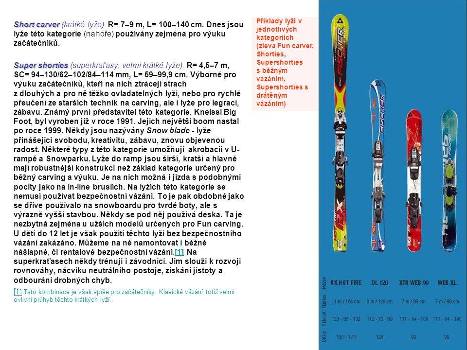 Příklady lyží v jednotlivých kategoriích
