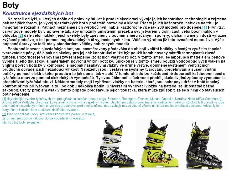 Boty Konstrukce sjezdařských bot