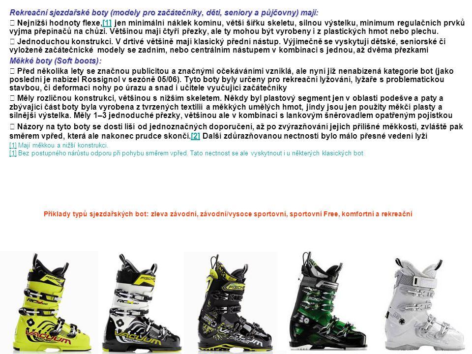 Rekreační sjezdařské boty (modely pro začátečníky, děti, seniory a půjčovny) mají: