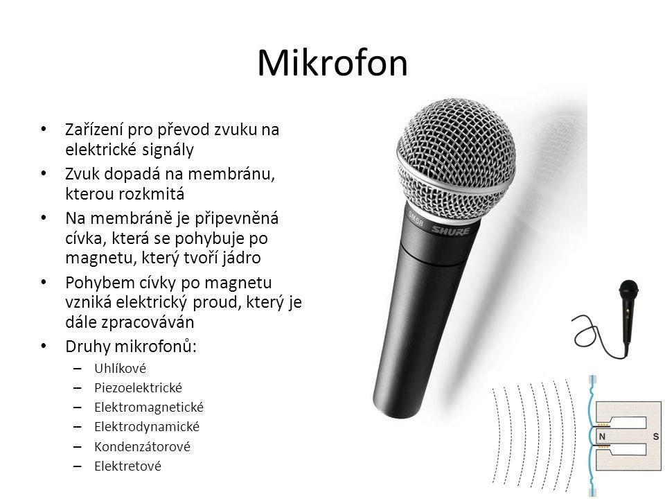 Mikrofon Zařízení pro převod zvuku na elektrické signály